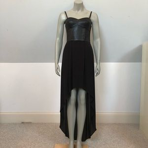 BCBG High-low dress with leather bodice.